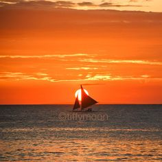 Sailboat Sunset Photo Print by ImagesByTiffyMoon Sunset Photos, Sailboat, Wall Art Prints, Glow, Tropical, Silhouette, Warm, Orange, Holiday