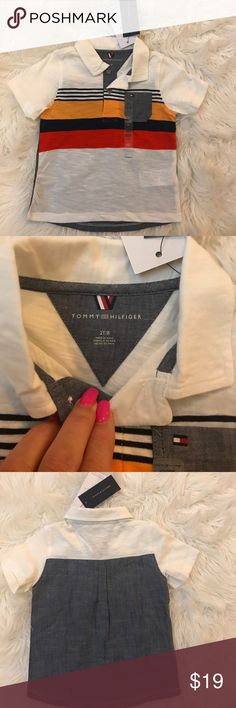 Tommy Hilfiger polo shirt Tommy Hilfiger polo shirt with colored stripes and a cute pocket. The back is gray and the material is lightweight. Great for summer! Have other sizes! NWT Tommy Hilfiger Shirts & Tops Polos