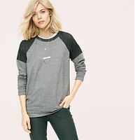 Lou & Grey Double Play Tunic - Introducing a new line of easy, texture-rich pieces for your every day. Tomboy cool in two tone terry, this baseball-inspired style is a total MVP. Crew neck. Long sleeves. Drop shoulders. Back zip. Banded cuffs and hem.