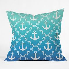Jacqueline Maldonado Nautical Knots Ombre Blue Outdoor Throw Pillow | DENY Designs Home Accessories
