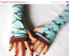SALE Owl Arm Warmers, Girls, Fingerless Gloves, Autumn, Brown, Aqua, cycling, teen, tween,  fashion sleeves. $11.84, via Etsy. YES PLEASE!