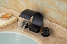 63.72$  Buy here - http://aliq9n.worldwells.pw/go.php?t=32435817418 - Oil Rubbed Bronze Waterfall Bathroom Basin Faucet Widespread Vanity Sink Mixer 63.72$