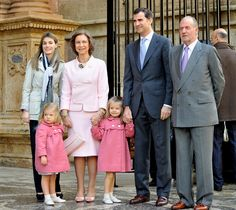 queensofias:  Spanish Royals at Easter Mass-2010:  Crown Princess Letizia, Queen Sofia with Infanta Sofia and Infanta Leonor, Crown Prince Felipe, King Juan Carlos