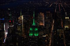 April 17, 2015: The Empire State Building's world famous lights glow in New York Cosmos green to help kick off their 2015 home opener.