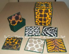 Safari Tissue Box Cover with matching coasters (set of 6)