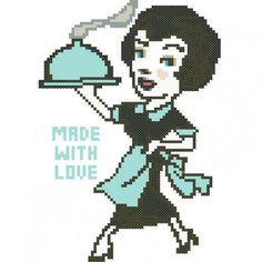 0 point de croix femme cuisine - cross stitch cook woman made with love