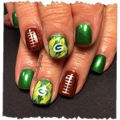 Green Bay packers by nailedbydeshea - Nail Art Gallery nailartgallery.nailsmag.com by Nails Magazine www.nailsmag.com #nailart