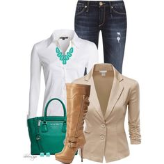 A fashion look from October 2014 featuring NIC+ZOE blouses, Doublju blazers and True Religion jeans. Browse and shop related looks.