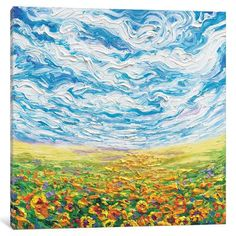 "Red Barrel Studio Big Sky, Small Sunflowers Painting Print on Wrapped Canvas Size: 12"" H x 12"" W x 1.5"" D"