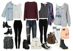 Back to school outfits...just don't like the knee high socks or the heels on the boots but otherwise cool