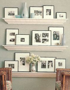 Family room shelving idea -- but paint shelves a color like red, or have wood tone that matches coffee table/mantle