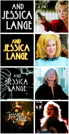 Jessica Lange as Constance in Murder House, Sister Jude in Asylum, Fiona in Coven, and Elsa in Freak Show