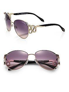 73055228155 Roberto Cavalli - Serpent Crystal-Embellished Sunglasses