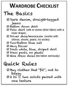 Mens Basic wardrobe - Check List