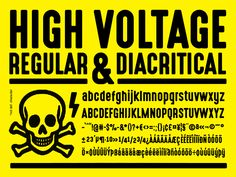 High Voltage Font inspired by old warning signs, recreated with correspondent small letters, diacritics and most of the cyrillic characters. This package contains 2 fonts: regular and rough.