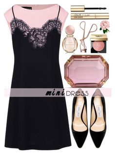 """Mini Dress"" by alaria ❤ liked on Polyvore featuring Boutique Moschino, Jimmy Choo, Charlotte Olympia, Bulgari, Charlotte Tilbury, Bobbi Brown Cosmetics, Smith & Cult and minidress"