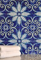 Natasha jewel glass mosaic in Iolite, Lapis Lazuli, Blue Spinel, Coveliite, and Feldspar jewel glass.