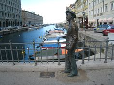 "James Joyce, the statue on Canale Ponterosso. You can walk like him discovering Trieste. Let's smell the ""air"" of the ancient times."