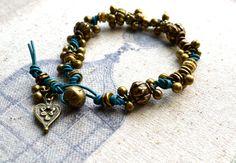 Teal Leather Bracelet Rocker Bracelet Brass Bead by Phoebedreams, $36.00
