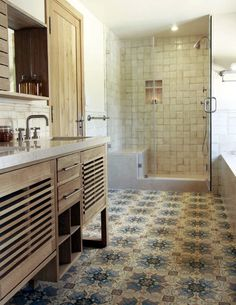 Shower in bath-sized space.