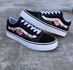 Rose vans floral vans vans roses embroidered sneakers