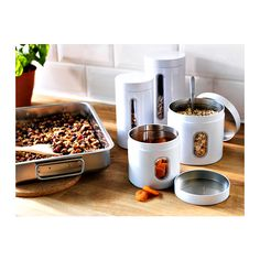 108 (BI) 125 (IS) -- INRE Storage tin with lid, set of 2 IKEA Suitable for cakes, biscuits and other dry foods.