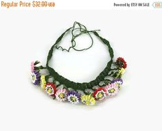Multicolor  needlework lace oya flowers  choker necklace with tie up ends .   This gorgeous,one-‐of-‐a-‐kind flower  crochet statement necklace uses the traditional  Tur... #etsy