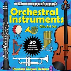 Instruments of the orchestra clip art set in color and black and white.  Huge collection - value bundle!  $