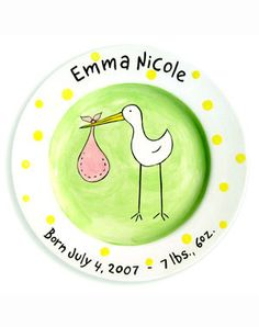 Baby Girl Stork Personalized Ceramic Plate