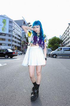 Aoi in Harajuku wearing ALICE BLACK, American Apparel, BELLY BUTTON, GR8, TOKYO BOPPER | Fashionsnap.com