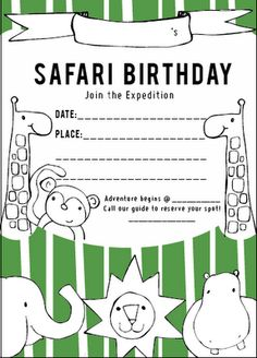 322 best animal party invitations images on pinterest in 2018 free safari birthday printables filmwisefo