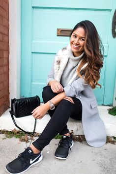 How to style your Nike Free 5.0 shoes by Louisiana based fashion blogger, Jenn of Haute Off The Rack, ripped jeans, faux fur coat, Rebecca Minkoff bag