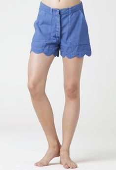 The MiH Jeans Scallop Short in Zooey - a sweet flirty short with a scalloped hem and workwear-style patch pockets.