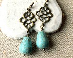Turquoise Dangle Earrings crochets ou boucles d'oreilles Turquoise de boucles d'oreilles à clips celte longue boucles clips Boucles d'oreilles Bijoux turquoise E242