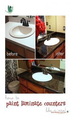How to Refinish Laminate Counters: Made By Marzipan - painting laminate counters in the bathroom