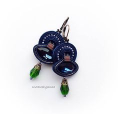 Dangle soutache earrings with czech crystals Crystal Beads, Crystals, Soutache Earrings, Embroidery Techniques, Dangles, Handmade Jewelry, Personalized Items, Etsy, Accessories