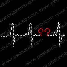 Heart Beat Curve Cusom Rhinestone Transfers New Design