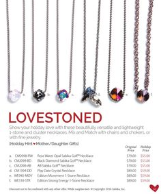 Holiday Sale:  1 Stone Necklaces from Classics and Fall & Winter 14 Collections karol.gordon9@gmail.com