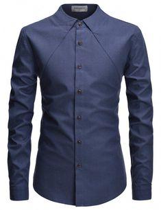 e794a61929a #casualmensfashion Collar Designs, Designer Dresses, Long Sleeve Shirts,  Spandex, Slim Fit