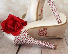 Flower Wedding Shoes Ivory Platform Peep by EllieWrenWeddingShoe