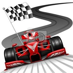 Wall Mural Formula 1 Red Car on Race Track