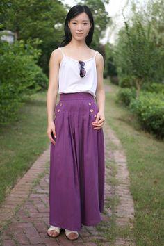 purple linen long skirt(more colour and size choice)-B20. $54.00, via Etsy.