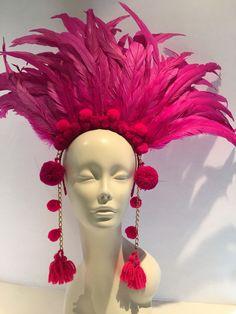 Items similar to Pom pom headpiece- Hot pink Headdress -Tribal on Etsy Mardi Gras Costumes, Carnival Costumes, Rio Carnival, Fairy Costumes, Rainbow Headband, Coque Feathers, Feather Headdress, Feather Crown, Diy Hair Accessories