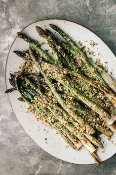 Roasted Asparagus with Lemony Walnut Crumble