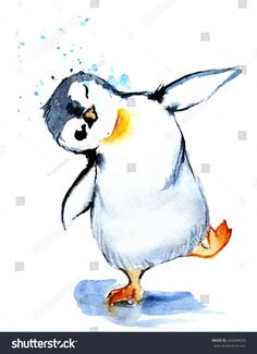 Watercolor Funny Penguin Stock Vector (Royalty Free) 242684020