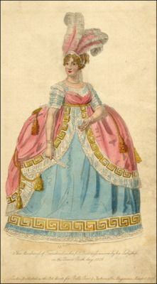 circa 1806 court dress and even thought empire waist dresses where now used Queen Charlotte had them still were panniers with the dresses