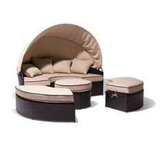 Lanai 4-Piece Wicker Patio Daybed With Canopy Set