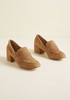 Grad to Hear It Suede Loafer in Tan - Of all the compliments you've received in your masters program, the ones on these tan heels have been the best of all. Touting loafer-inspired square toes and chunky block heels, this genuine suede pair pays tribute to your smart style and accomplished university career.