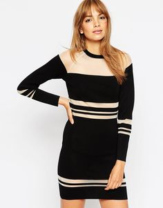 ASOS Bodycon Dress with Sheer Stripe Detail