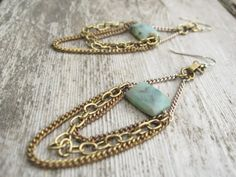 Peruvian Opal and Vintage Chain Earrings on Etsy, Sold